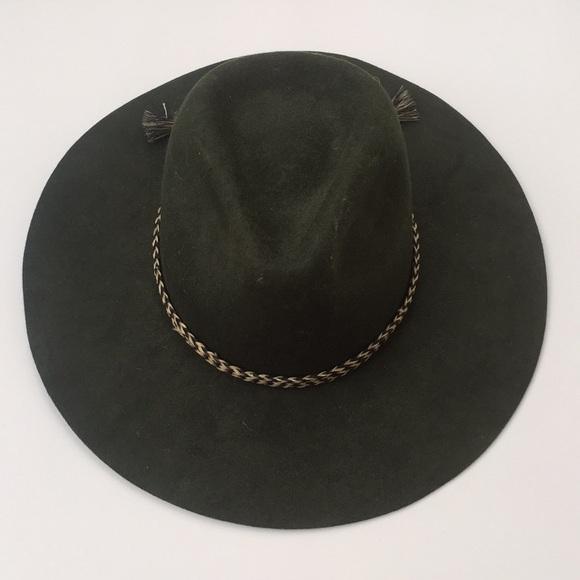 Brixton Accessories - Brixton Wide Brim Army Green Wool Felt Hat w Band fa65fea24e25